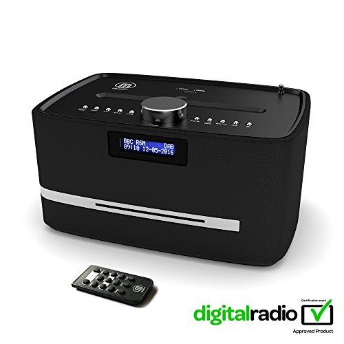 Castle DAB/DAB+ Digital FM Radio Bluetooth Wireless CD Player Micro Compact Stereo Speaker System - Remote Control - Dual USB Charging (Black)
