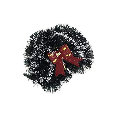 Rocita 1PC de Noël Guirlande de Sapin de Noël Ruban épais Chunky Large Brillant Arbre de Noël Guirlande de Noël avec nœud Rouge gaufrage Décoration pour Noël Anniversaire Décorations Vert Brillant