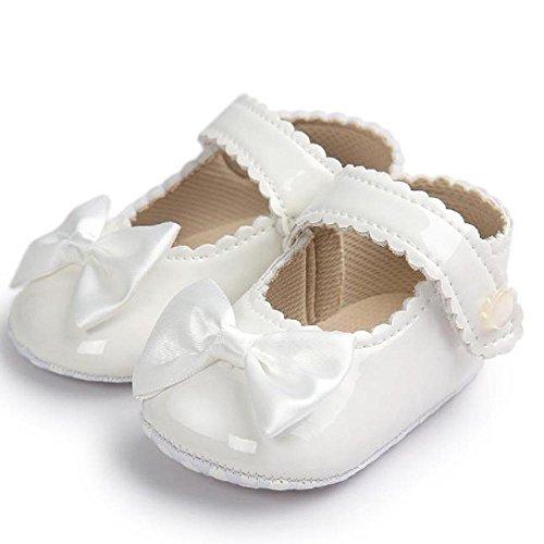 Zhen+zhen Mode Freizeit PU-Leder Babyschuhe - Anti-Rutsch Krippeschuhe Kinderschuhe Hallenschuhe, Neugeborene Baby Mädchen Princess Kleinkind Schuhe Krabbelschuhe für 0-18 Monate (12-18M, Weiß)