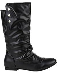 Bequeme Damen Schlupfstiefel | Warm Gefütterte Stiefel | Leder-Optik Boots | Flache Schuhe | Cowboystiefel Booties | Damenschuhe | Flandell®