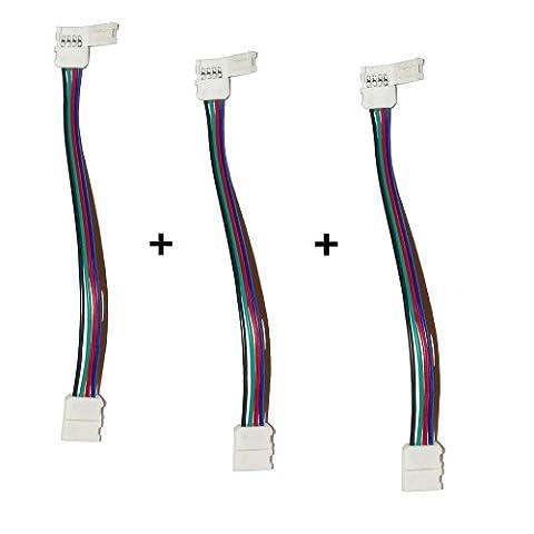 3er Set: 4 pol Verbinder mit Klippbefestigung | Schnellverbinder für
