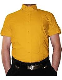 44ccae0e85 Designer Hombre Camisa Slim Fit Entallado Cuello clásico Manga Corta Bügel Libre  Muchos Colores Slimfit Bodyfit
