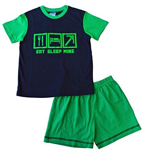 EAT pantalón corto de pijama de apagado MINE 7 permiten el paso de la 14 años con diseño de estampado de Juego de gran calidad de toma de ordenador verde