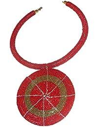 348c78f1e35e Collar de joyería roja con colgante de cuentas doradas