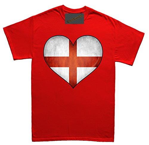 Renowned England Flag Love Heart 3D Unisex - Kinder T Shirt Rot