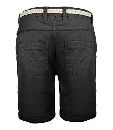 Damen Bermuda Short by SBL Boyfriend Look tiefer Schritt mit Quernaht und Flechtgürtel soft washed Anthra