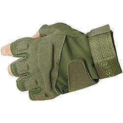 Yihya Transpirable Militar Táctico Combate Airsoft Ciclismo Bicicleta Motos Medio Dedo Guantes Half Finger Antideslizante Gloves Protección de Mano sin dedos para Caza Mountaineer Trekking Material de Fibra Sintética--- verde militar - L