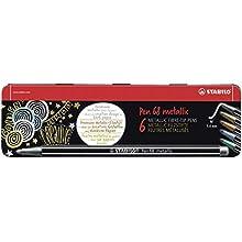 Metallic Premium Felt Tip Pen - STABILO Pen 68 metallic Tin of 6