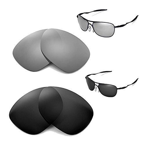 Preisvergleich Produktbild Walleva Polarisierte Titan + schwarz Ersatz für Oakley Crosshair Brillen (2012oder später)