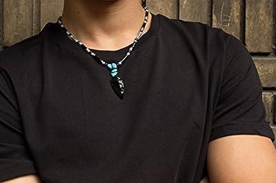 Collier pour homme et femmes - Inspiration tribu - avec pendentif flèche noir amérindien