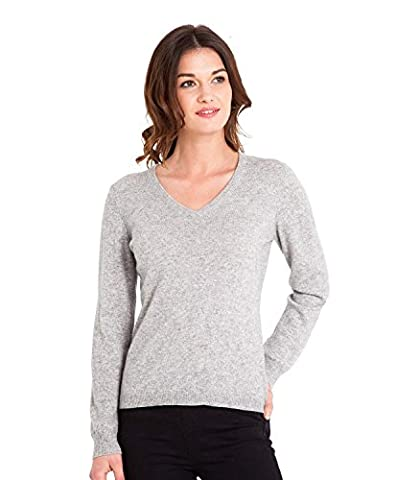 WoolOvers Pull à col V - Femme - Cachemire & mérinos Flannel Grey, L