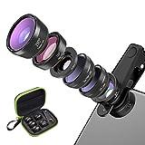 6in 1 Handy Kamera Objektiv Set Fisheye Objektiv, Weitwinkelobjektiv, Makro Objektiv, Teleobjektiv, Kaleidoskop 3/6 Objektiv, Flow/Star / Radial Filter Clip-on Meiste Smartphone Universal