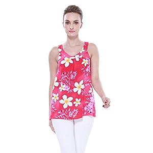 Mujeres-camiseta-con-capucha-floral-hawaiana-en-Plumeria-amarillo-del-corazn-con-la-hoja-rosada