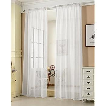 Wei/ß B//H: 300 x 245 cm Happy Home Store Milena Rideau Transparent Blanc Polyester