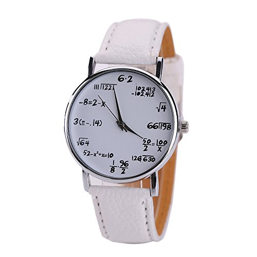 Tonsee Math Formeln Damen Herren Leder Edelstahl Uhr Sport Quarz Armbanduhr (Weiß)