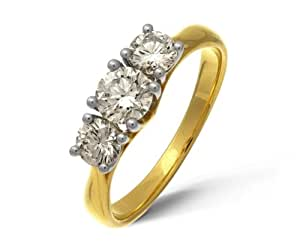 Naava 18 ct Yellow Gold Trilogy Ring by Naava, H/SI1 Certified Diamonds, Round Brilliant, 1ct