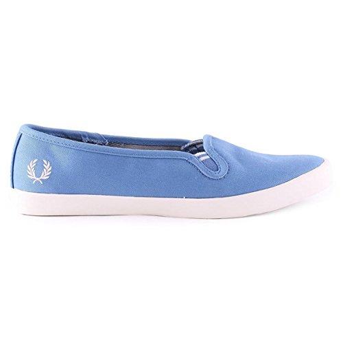 Fred Perry Bell Slip On Twill Blue Womens Trainers - B6276W-C31 Bleu