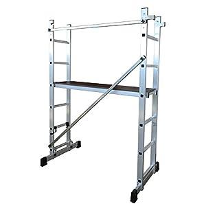 ALTIPESA Escalera – andamio Profesional de Aluminio 2 x 6 peldaños Multiusos