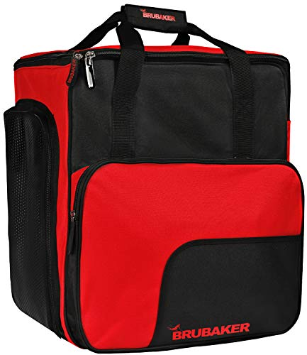 Skischuhtasche Helmtasche / Skischuhrucksack SUPER FUNCTION Comfort Stiefeltasche mit Rucksackfunktion BRUBAKER Wintersporttasche Rot / Graphite