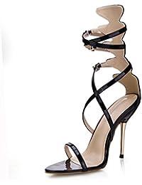 Best 4U® Sandalias de verano para mujer Charol Peep toe Crossing Straps 10.7CM High Metal Tacones Rubber Zipper...