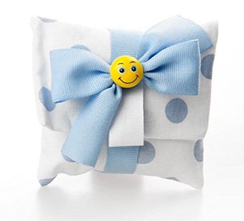 Bomboniera con confetti, sacchetto busta a pois azzurri fiocco azzurro e smile con confetti (per urgenze provare a contattare il venditore)