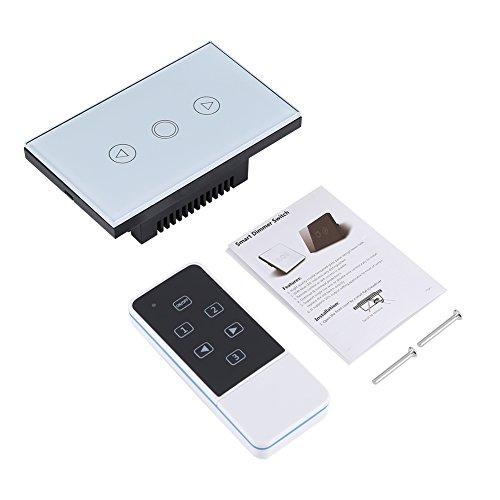 Zerodis Smart Wand-Lichtschalter, 3-Gang, 2-Wege-Fernbedienung, Kristallglas, Touchscreen, Dimmer mit LED-Anzeige, AC 110-220 V weiß -
