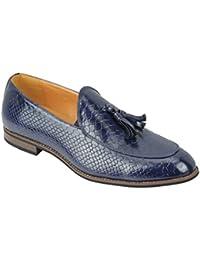 e5bdca5fa26cf Homme Vintage imprimé Peau de Serpent Verni Brillant Cuir Tassel Mocassins  Smart décontracté rétro Mod Chaussures