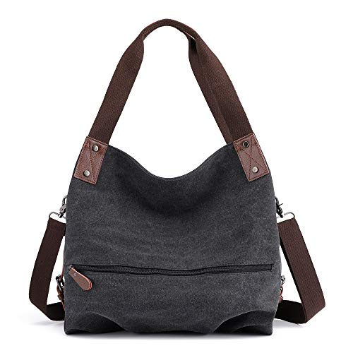 Lazzboy Umhängetasche Handtasche Damen Canvas kleine Vintage Shopper Tote Bag Bucket Bag(Schwarz)