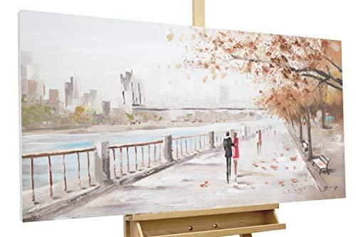 KunstLoft® Acryl Gemälde 'Autumn Walk' 120x60cm | original handgemalte Leinwand Bilder XXL | Liebespaar Stadt Orange Blau | Wandbild Acrylbild Moderne Kunst einteilig mit Rahmen