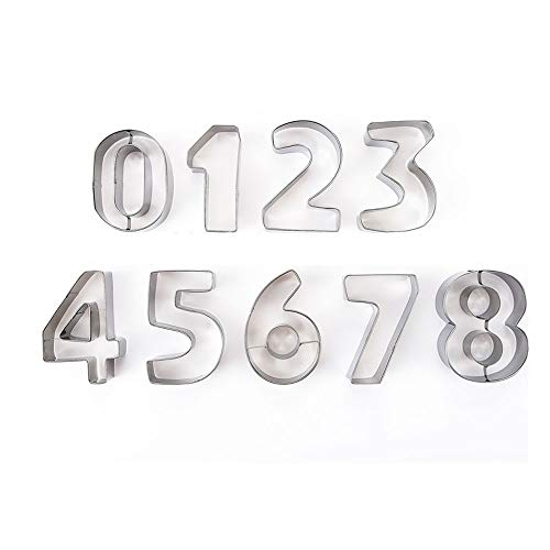 Number Cookie Cutters -Stainless Steel Cake Decorating Number Cutters with Cut-Outs(9-Piece Set)