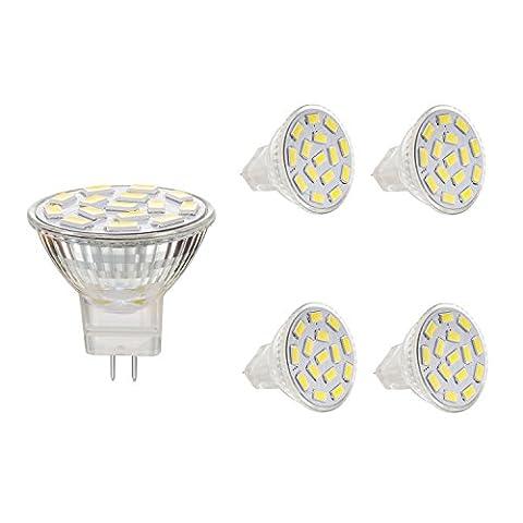 Bogao MR11 GU4.0 3.5W LED Light Bulbs , Equivalent to 25-35W Halogen Lamps , GU4.0 Base AC/DC 12V ,350 LM , 120° Flood Beam , White , Recessed Lighting, Track Lighting ,(6000K) Pack of 4