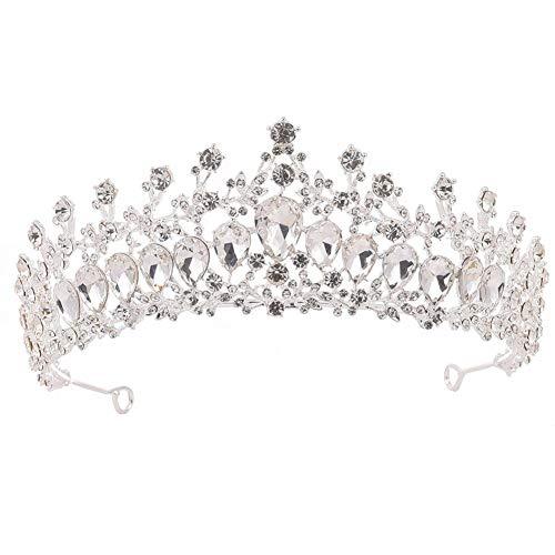Y.L Master Diadem Hochzeit Frauen Strass Kopf Schmuck Kronprinzessin Stirnband Kristall Krone Braut,Silver