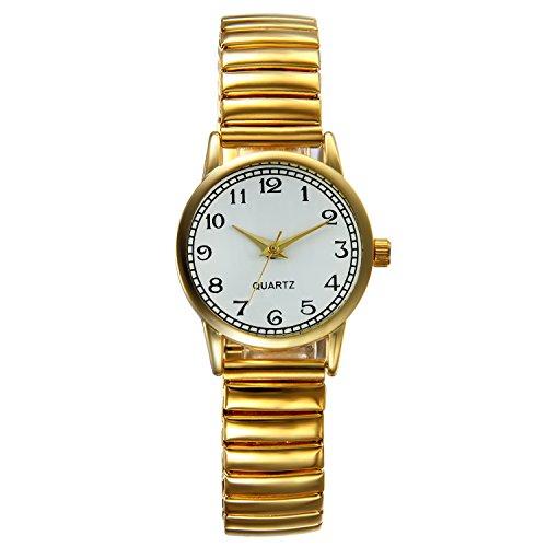 Lancardo Gold Damen Armbanduhr, Fashion Casual Analog Quarz Uhr mit Dehnbare Legierung Flexband Armband, Digital Ziffern Zifferblatt