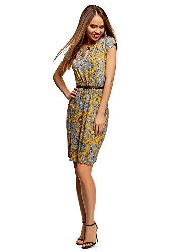 oodji Collection Damen Jersey-Kleid mit Gürtel, Gelb, DE 42 / EU 44 / XL
