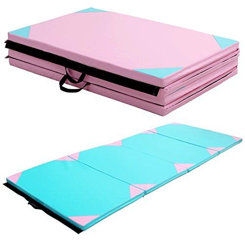 COSTWAY Weichbodenmatte Gymnastikmatte Yogamatte Turnmatte Klappmatte Fitnessmatte 300x120x5cm klappbar tragbar (Blau)