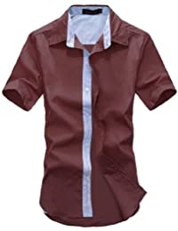 Man Fermeture À Boutons Manches Courtes Col Pointu Chic Chemise