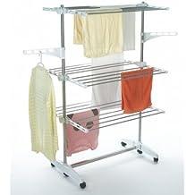 Todeco - Secadora con 3 niveles regulables de acero inoxidable, 147 x 87 x 64 cm, color plateado