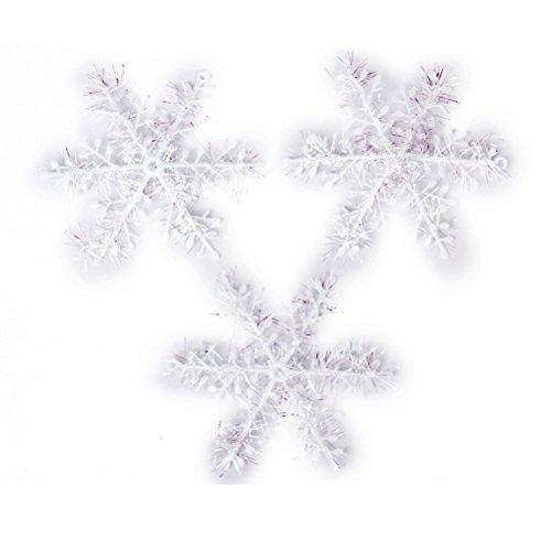 ounona Lot de 30 coussinets 11 cm Flocons de Noël décoration à suspendre Décoration goutte Pendentifs (Blanc)