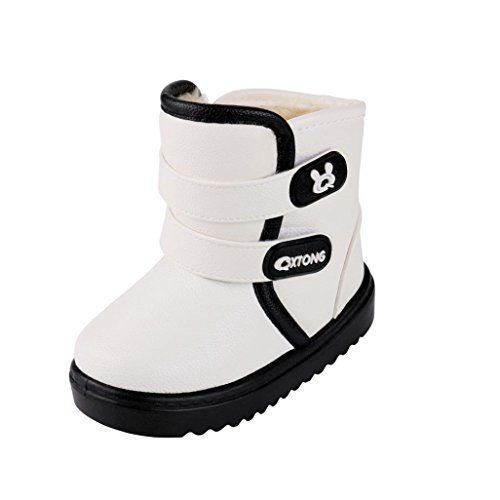 FEITONG Kinder Stiefel, Kinder Jungen Mädchen Winter Stiefel Sneaker Casual Dicke Warme Schuhe (EU:28=CN:29, Weiß) (Kinder Skateboard Schuh Weiß)