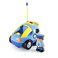 GKKCOO Kids Baby Toddlers Cartoon Police R/C Race Car usic Radio Control Toy Gift for Ages 18 months and Up