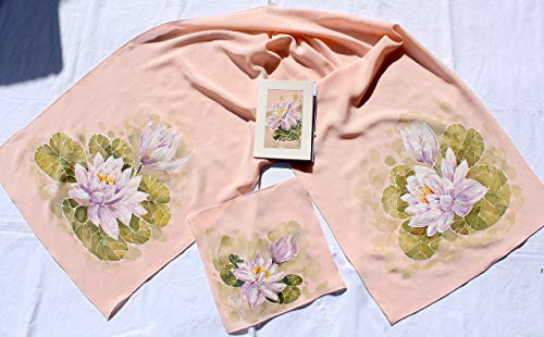 Sale!!!30% Off,Set of 3,Hand Painted Pink Stylish Silk Water Lily Scarf Shawl 140/40sm+ Hand Painted silk pocket square pink 25/25sm and Hand Painted Exotic Water Lily Silk Card 11/16sm