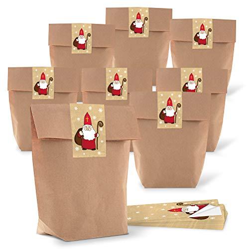 5 piccoli sacchetti di carta marrone naturale 16,5 x 26 x 6,6 cm + 5 adesivi natalizi nikolaus rosso bianco beige classico confezione regalo set carta kraft sacchetti bio