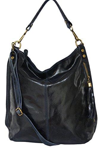 Shopper borsa, borsa a tracolla, Mod. 2106 pelle Italy Dark-blue