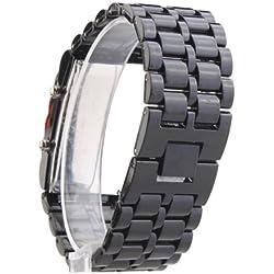 Beyondfashion New Volcanic Lava Iron Metal Blue LED Bracelet Wrist Sport Watch