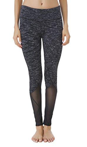 Queenie Ke Donna Allenamento Leggings Opaco Yoga Fitness Palestra Pantaloni Colorante nero mesh