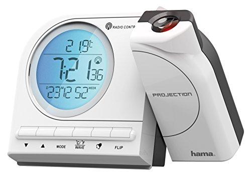 Hama Funk Projektionswecker (mit Thermometer, Kalender, Wecker, automatische Zeitanpassung, Projektor um 180 Grad drehbar) White/Blau/Grau (Wecker Projektion Uhr)