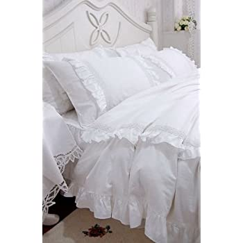 shabby and elegant white laceruffle duvet cover bedding setking