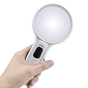 Global-store 10X Lighted Magnifying Glass, 75mm Double Lens Handheld Reading Magnifier Loupe with 3 LED Lights by Globalstore