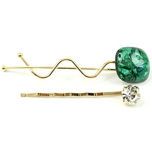 rougecaramel - Accessoires cheveux - Mini pince fantaisie métal doré lot de 2pcs - vert
