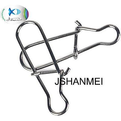 jshanmei® Confezione Da 50Duo-Lock Snaps acciaio inossidabile Nizza Snap girevole Anelli Gear Solid Pesca Sinker (Shock Braid)